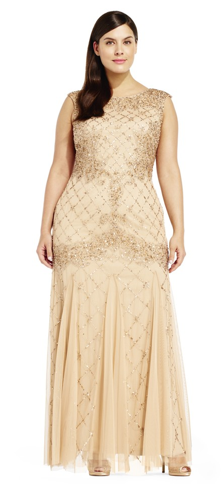 Adrianna Papell Champagne Fully Beaded Sleeveless Godet Gown Plus ...