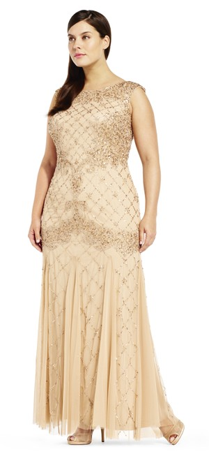 Adrianna Papell Sequin Beaded Mesh Dress Image 3