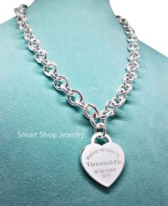 "Tiffany & Co. 17"" Necklace with 1.3"" Large Return To Heart Tag"