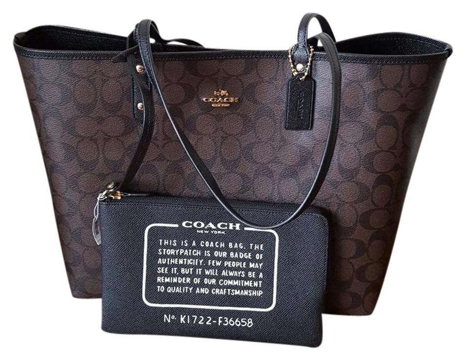 bf9b428f Coach City F36658 Signature Reversible Brown/Black Pvc Tote 56% off retail