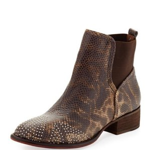 Donald J. Pliner Trendy Luxury Animal Print lizzard embossed, brown, silver studs Boots
