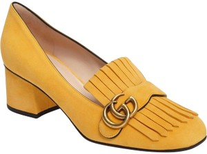 Gucci Marmont Fringe Loafer Mule Logo yellow Pumps