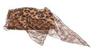 Louis Vuitton Louis Vuitton Brown Monogram and Leopard Silk Scarf 479799