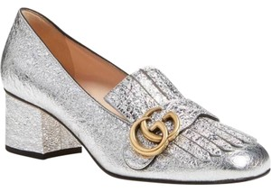 Gucci Marmont Metallic Stiletto Mule Loafer silver Pumps