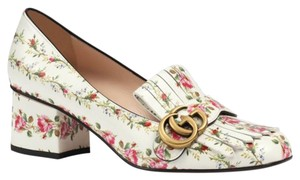 Gucci Marmont Logo Floral Mule Loafer Ivory Pumps