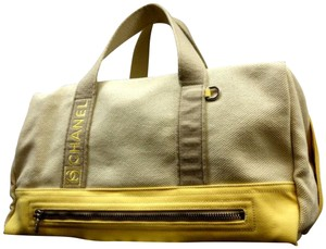 Chanel Duffle Boston Keepall Gym Beige x Yellow Travel Bag