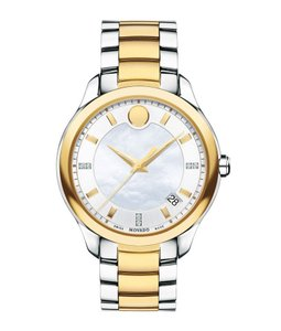 Movado Stainless Bracelet Diamond Mother of Pearl Dial Bellina 0606979 Swiss