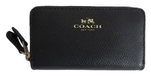 Coach Nwt Coach Black Crossgrain Leather Double Zip Credit Card Coin Wallet