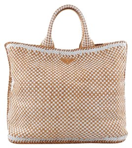 Prada Open Leather Tote in Brown