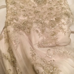 Essense of Australia Silver Lace Over Champagne/Ivory Embroidered Whisper Soft Tulle Diamanté D1757dmlu Modern Wedding Dress Size 12 (L)