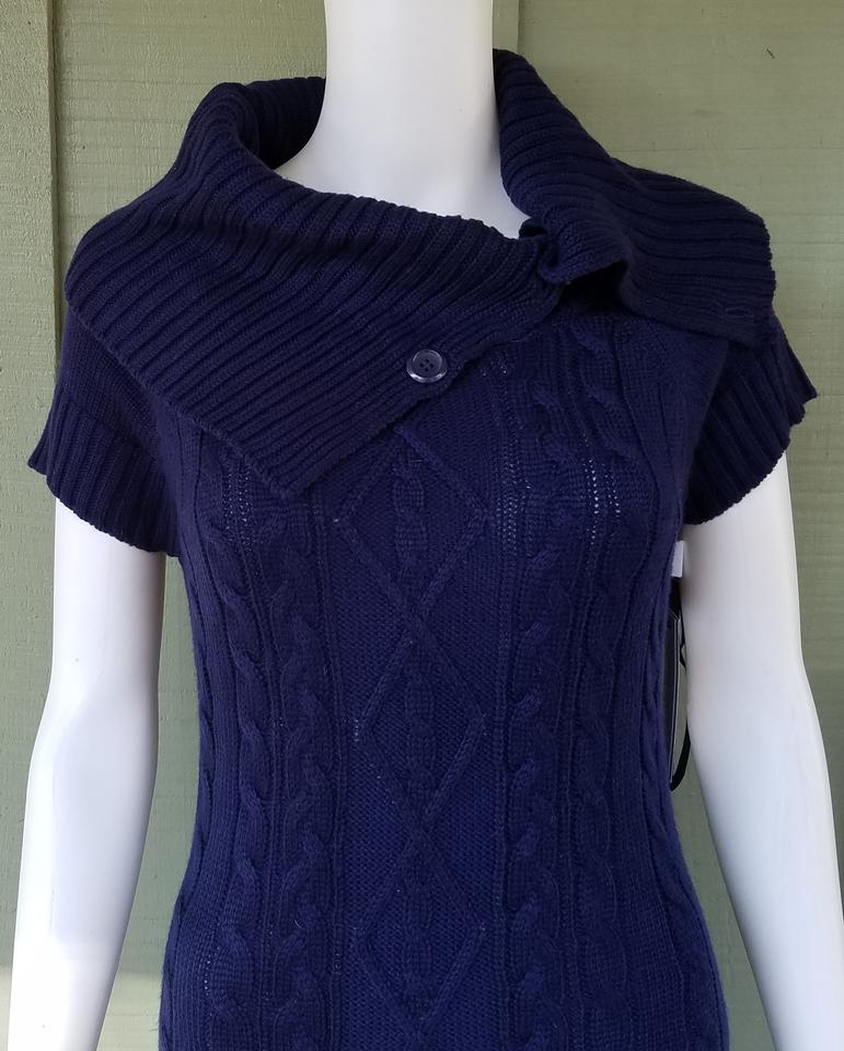 Calvin Klein Navy Blue Cable Knit Sweater Small S Short Casual Dress