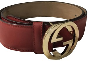 Gucci Gucci Red Leather Belt with Interlocking G Buckle 370717