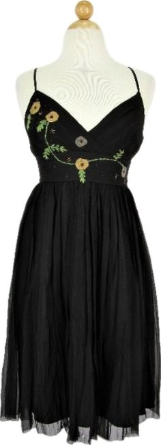 Item - Chocolate Brown Silk Chiffon Embroidered Party Mid-length Cocktail Dress Size 2 (XS)