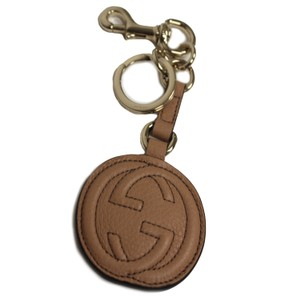 Gucci Gucci 'Soho' Interlocking GG Camelia Beige Leather Key Fob 282641