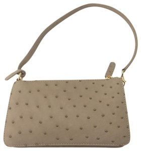 Suarez Ostrich Tan Clutch Purse Shoulder Bag