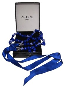 Chanel Chanel Blue Beaded and Ribbon Necklace