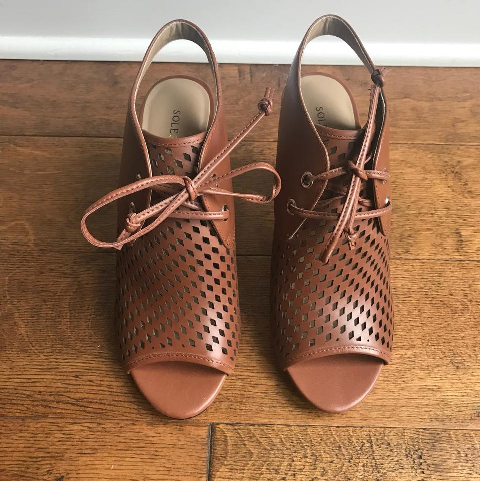 5129234fc Sole Society Brown Leather Summer Boots/Booties Size US 6.5 Regular ...