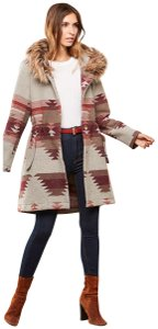 BB Dakota Heather grey and red tribal print Jacket