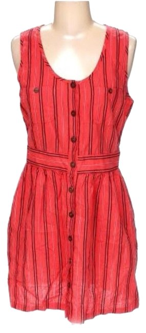 Item - Red Striped Linen Button Front Mid-length Short Casual Dress Size 8 (M)