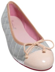 Roberto Botticelli Quilted Ballerina New Metallic Silver/Pink Flats
