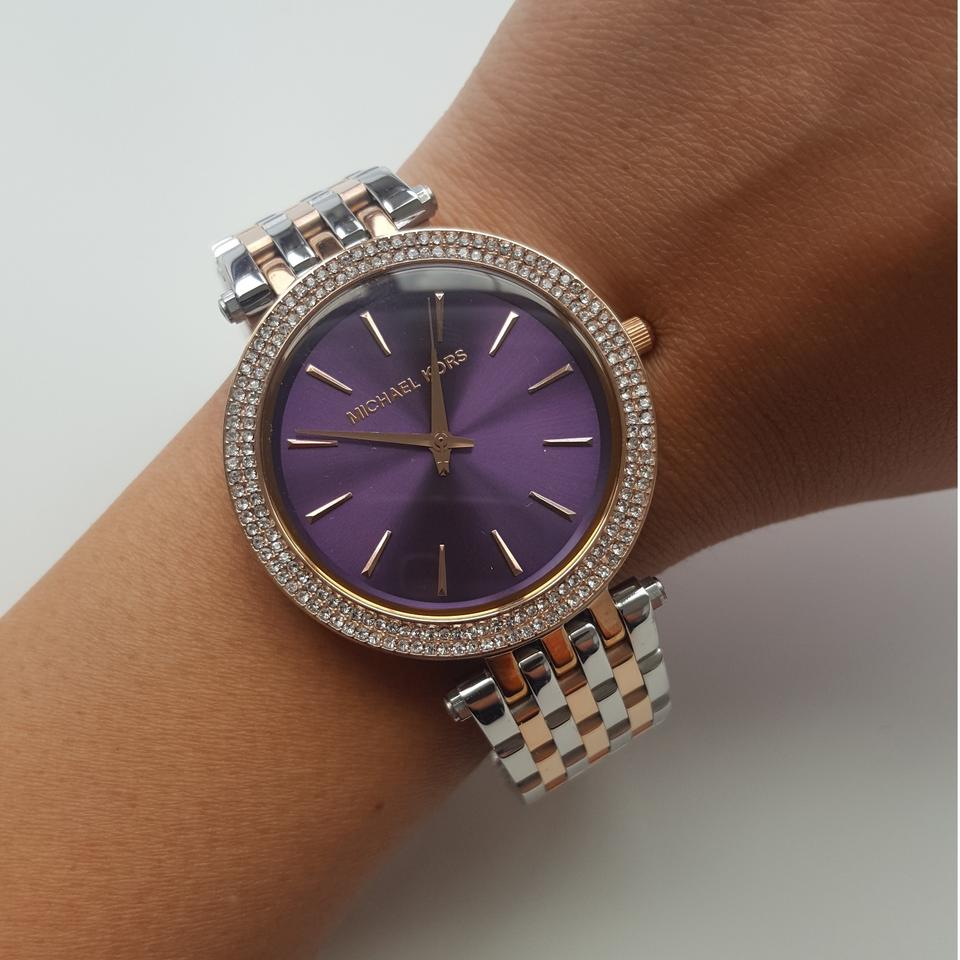 aac2b9c6caffd Michael Kors Silver-tone and Purple Dial Darci Two Tone Mk3353 Watch ...