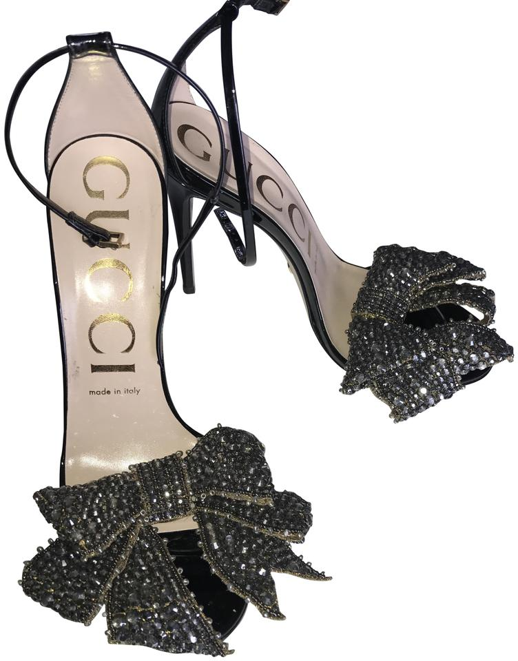 967871c39c0a Gucci Black Patent Leather Sandal with Removable Crystal Bow Formal ...