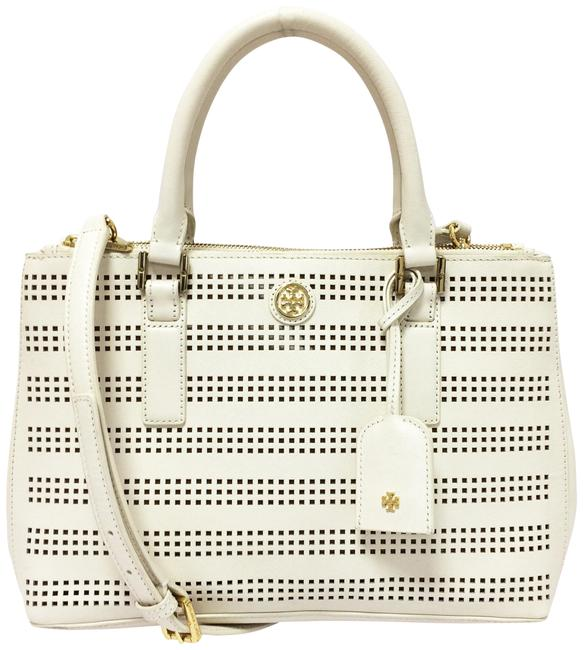 Item - Robinson Mini Double Zip Perforated Tote Saffiano Leather Satchel