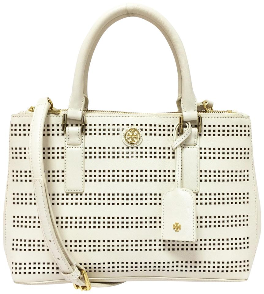 Tory Burch Robinson Mini Double Zip Perforated Tote Saffiano Leather Satchel 37 Off Retail