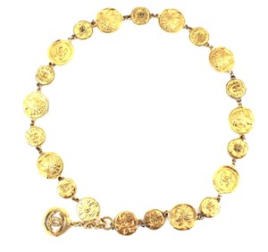 Chanel #16655 RARE CC coin medallion motifs gold long necklace belt