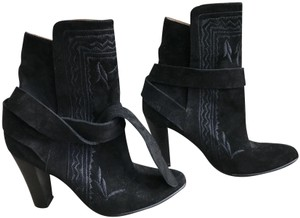 Ulla Johnson Embroidered Tie Boho Suede Black Boots