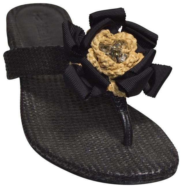 Item - Black New Blaine Woven Raffia Thong Sandals Size US 6.5 Regular (M, B)