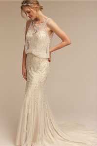 BHLDN Ivory / Champagne Beaded Shell Polyester Lining Jacinda Feminine Wedding Dress Size 2 (XS)