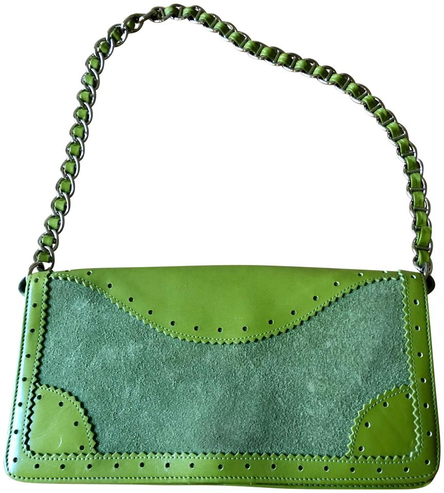 4ae509a3fe Nordstrom With Chain Detail Green Leather and Suede Clutch - Tradesy