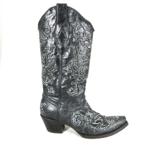 Corral Boots Embroidered Embellished Inlay black Boots