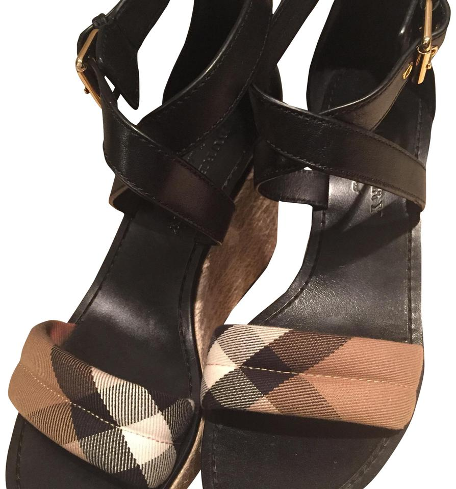 160d750dbc542f Burberry Black and Tan Leather House Check Platform Espadrille Wedge 39  Sandals