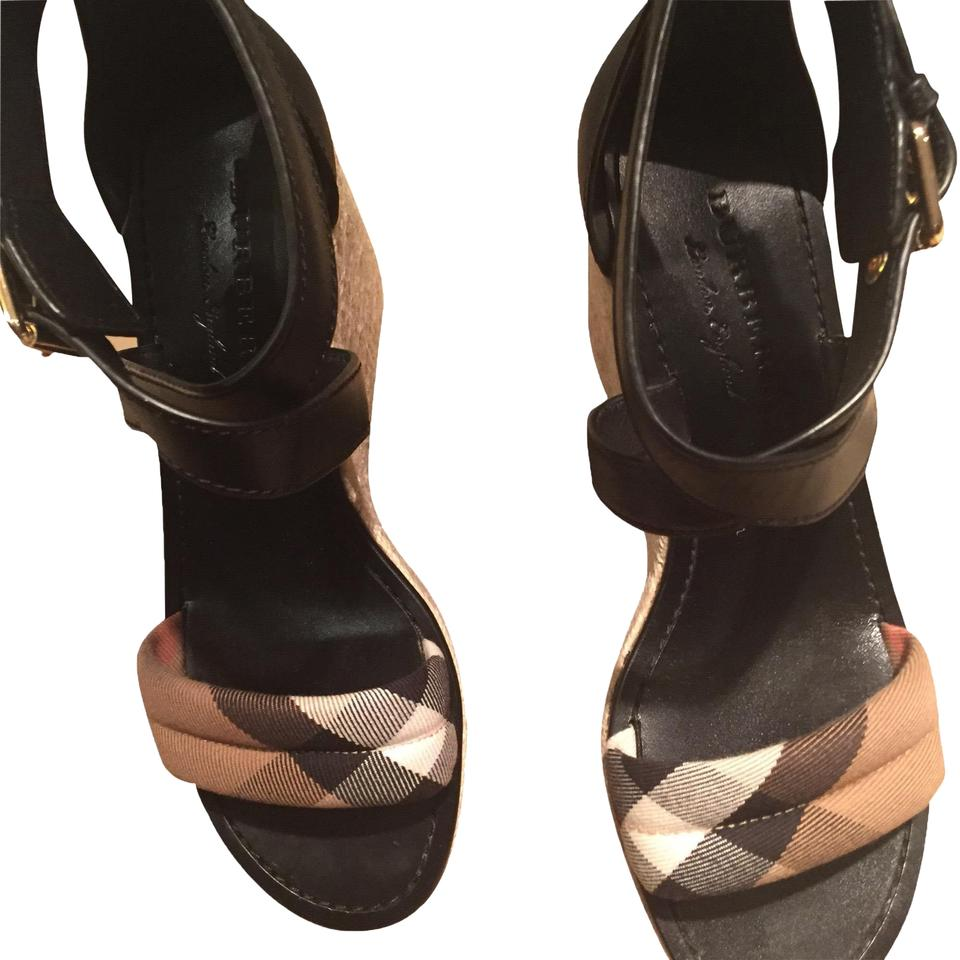 c4a1954d5b9 Burberry Black and Tan Leather House Check Platform Espadrille Wedge 39  Sandals Size US 9 Regular (M