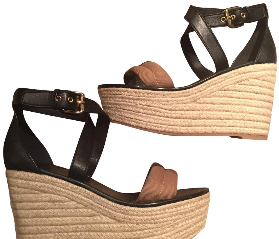 d1cfc976ef4d3c Burberry Black and Tan Leather House Check Platform Espadrille Wedge ...