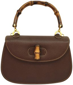 63e132eb299 Gucci Bamboo Top Handle Turn Lock Vintage Tote in brown