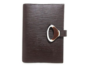 Louis Vuitton Moka Brown Epi Leather Brown Small agenda pm ring cover day planner