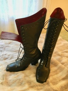 John Fluevog Laced Victorian black with red interior Boots