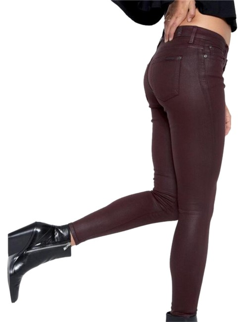 7 For All Mankind Burgundy/Red Coated Super Skinny Jeans Size 25 (2, XS) 7 For All Mankind Burgundy/Red Coated Super Skinny Jeans Size 25 (2, XS) Image 1