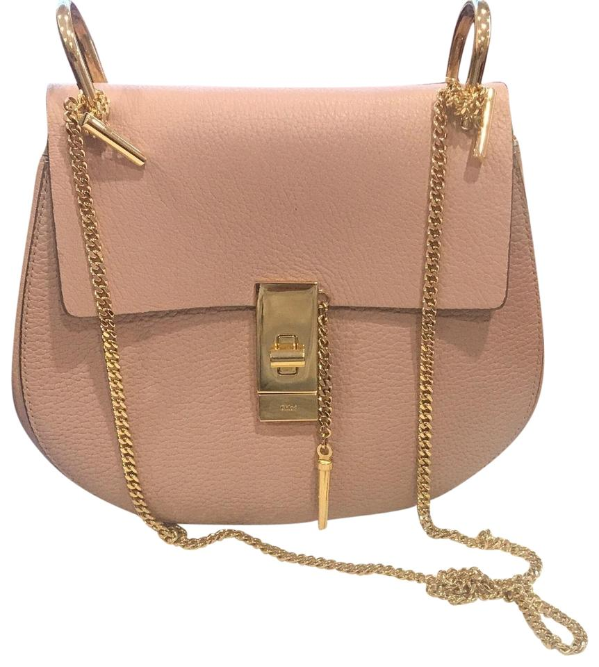 bcd6c28d5f853 Chloé Drew Small Chain Cement Pinks Pebbled Lambskin Saddle Cross ...