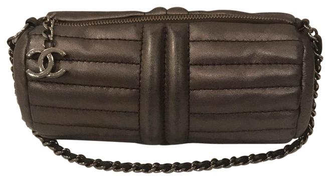Item - Cylinder Purse Gray Leather Clutch