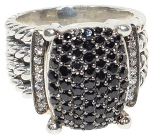 David Yurman David Yurman Wheaton 925 St Silver Black and White Diamonds Ring