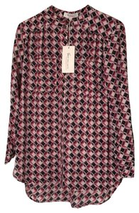 Vince Camuto Polyester Longsleeve Pockets Button Down Print Top taffy candy pink