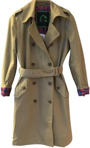 C. Wonder Canvas Silk Lining Burberry Trench Double Brested Tan Jacket