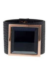 Vince Camuto Vince Camuto Rose Gold-Tone Jet Stone Pebbled Leather Cuff