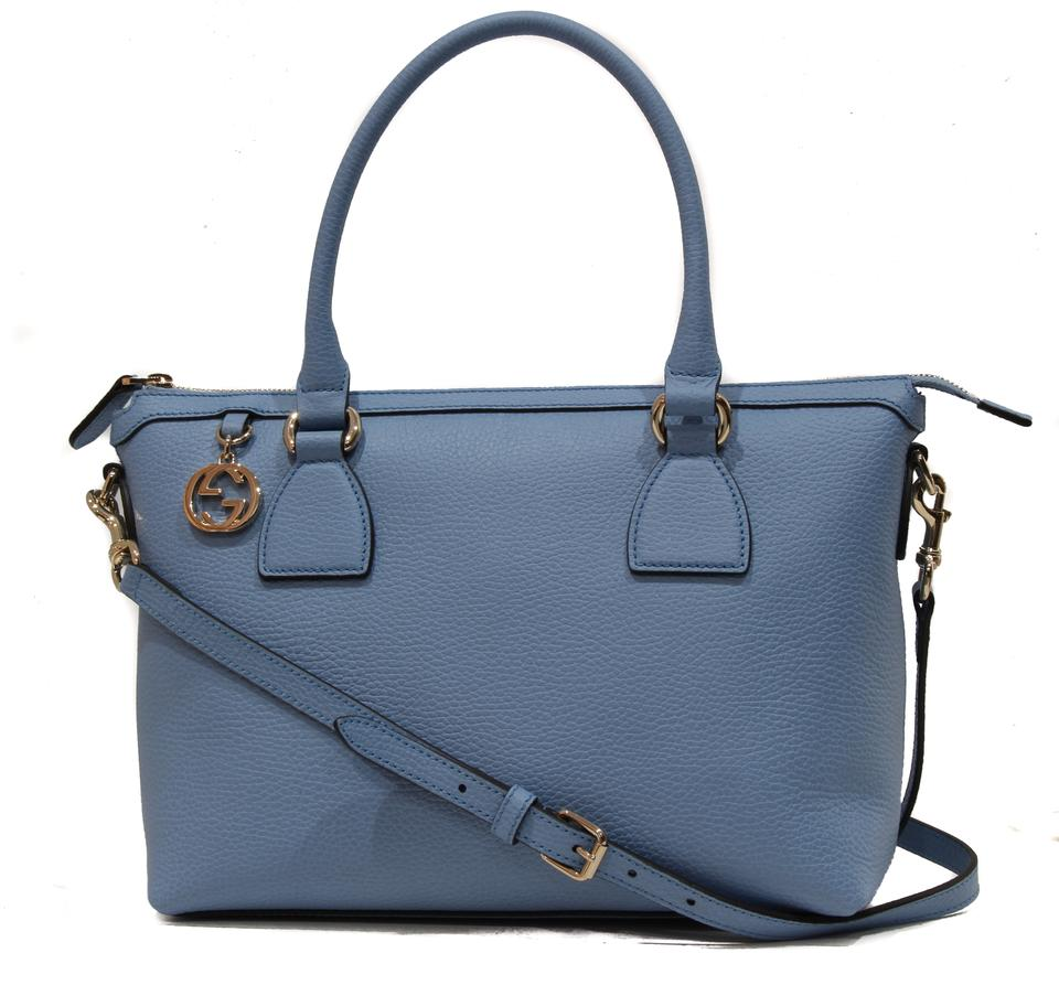d31f643cf98967 Gucci Interlocking G Charm Handbag Blue Leather Satchel - Tradesy