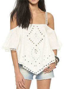 Free People Open Shoulder Cut-out Lace Top Ivory