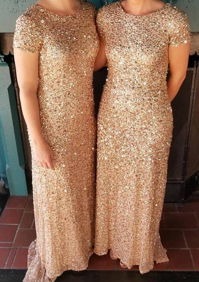3742ca2c Adrianna Papell Champagne Gold Sequin Polyester Short Sleeve Mesh Gown  Formal Bridesmaid/Mob Dress Size. 123456